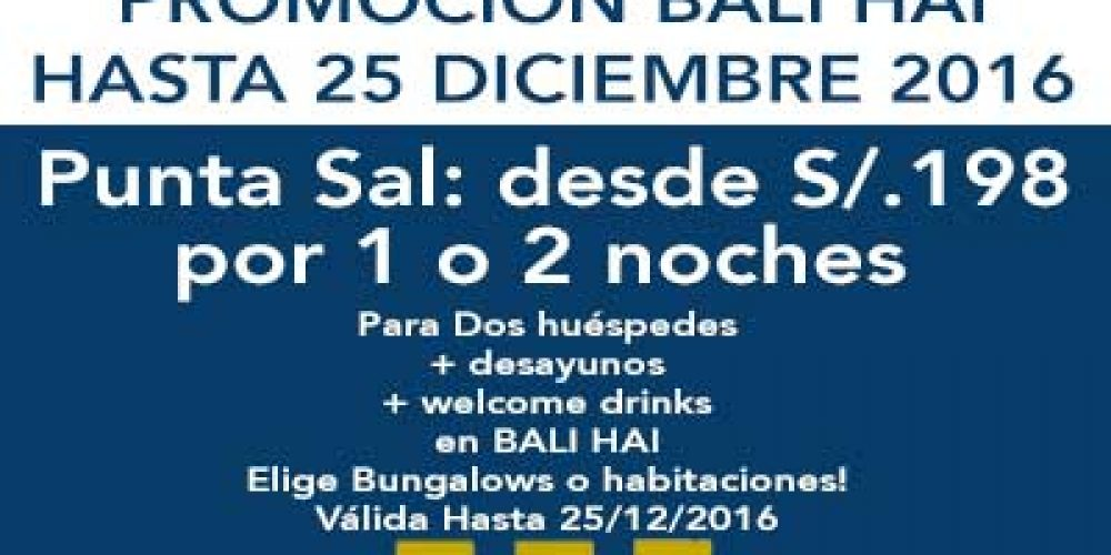 Balihai presents amazing prices for this next months of 2016