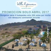 Promoción solo Abril 2017 de Villa Esperanza en Zorritos, Tumbes