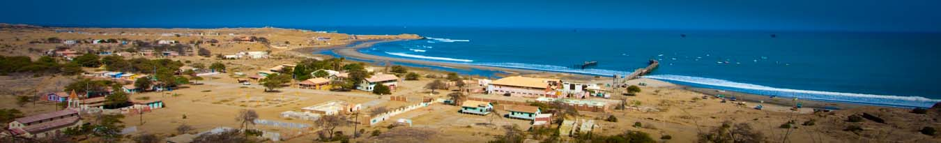 View of Lobitos township and the surf points in Lobitos